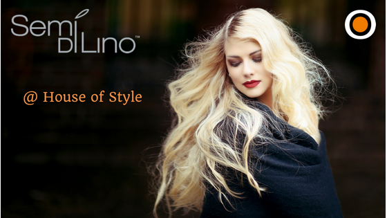 Woman with billowing hair and Semi di Lino logo